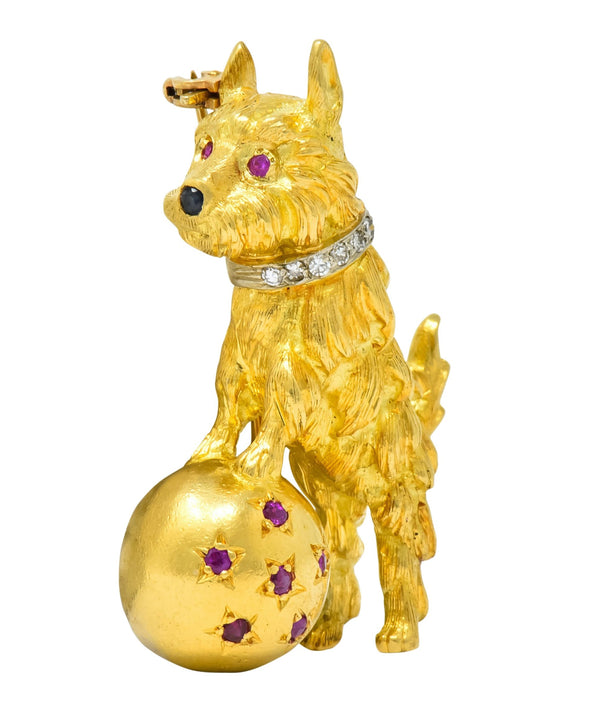 Spitzer & Furman Retro 18 Karat Yellow Gold Diamond Ruby Dog and Ball Brooch Brooch