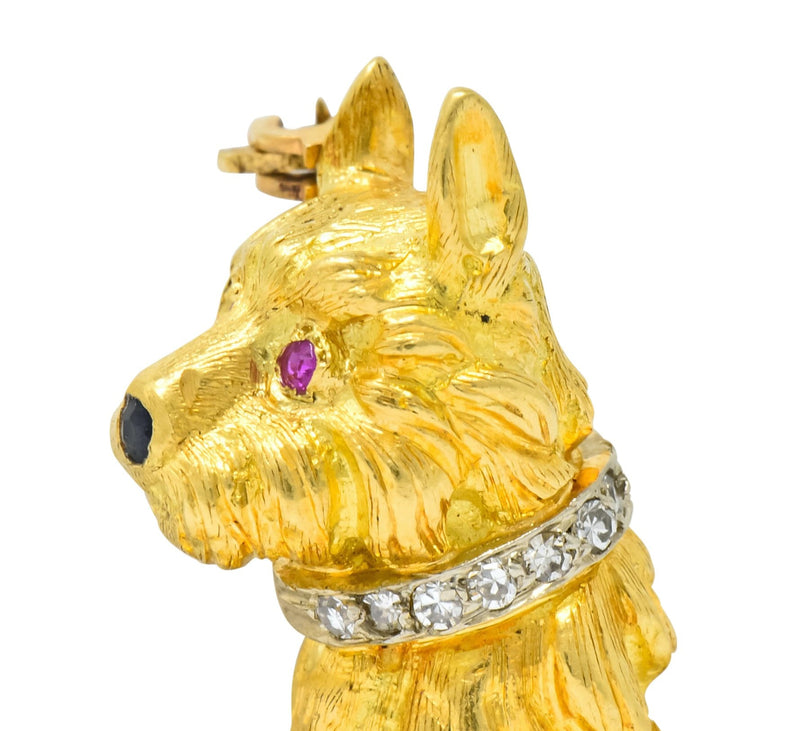 Spitzer & Furman Retro 18 Karat Yellow Gold Diamond Ruby Dog and Ball Brooch Brooch diamond Most Wanted out-of-stock Retro Ruby