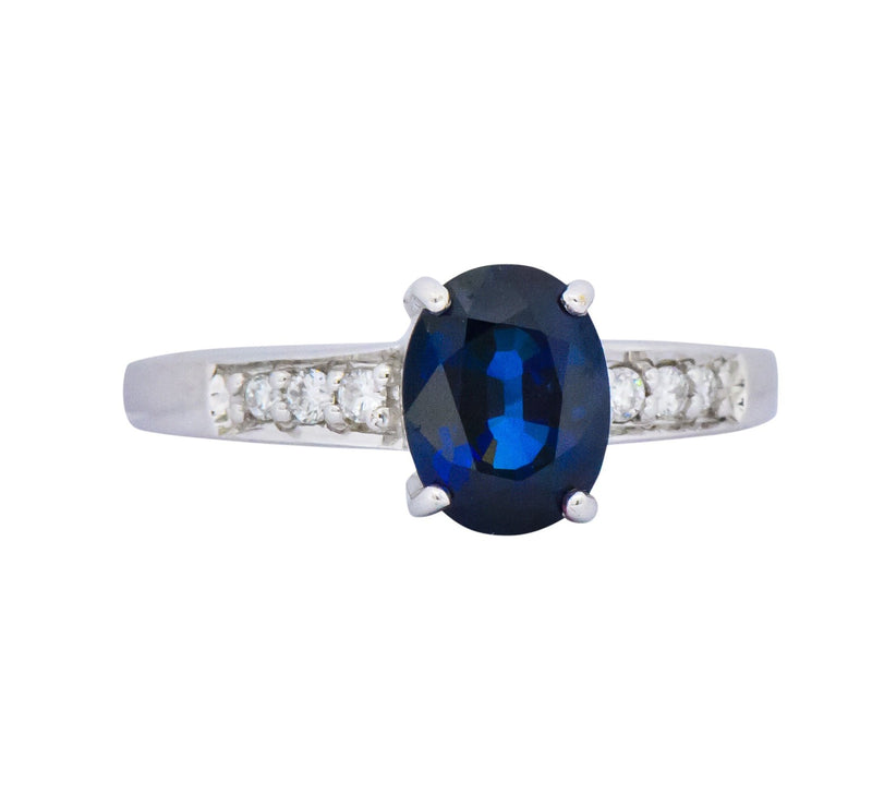 Splendid Contemporary 1.60 CTW Sapphire Diamond 18 Karat White Gold Ring Ring