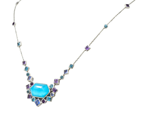 Stephen Webster Multi-Gem 18 Karat White Gold British Tessellated Necklace Necklace
