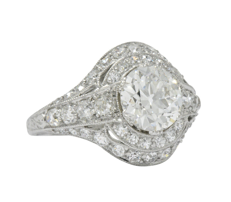 Stunning J.E. Caldwell Art Deco 2.81 CTW Diamond Engagement Ring GIA Ring Art Deco out-of-stock signed