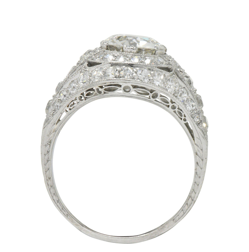 Stunning J.E. Caldwell Art Deco 2.81 CTW Diamond Engagement Ring GIA - Wilson's Estate Jewelry