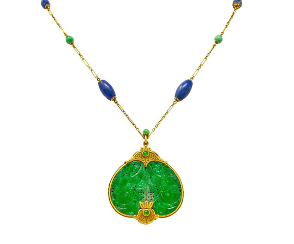 Substantial Arts & Crafts Jade Lapis 14 Karat Gold Medallion Necklace Necklace