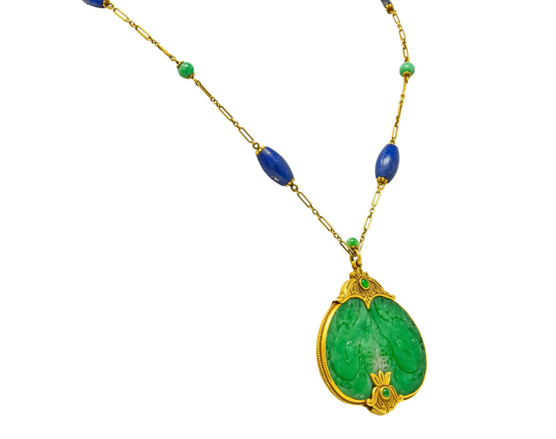 Substantial Arts & Crafts Jade Lapis 14 Karat Gold Medallion Necklace Necklace Art Nouveau arts & crafts jade lapis out-of-stock