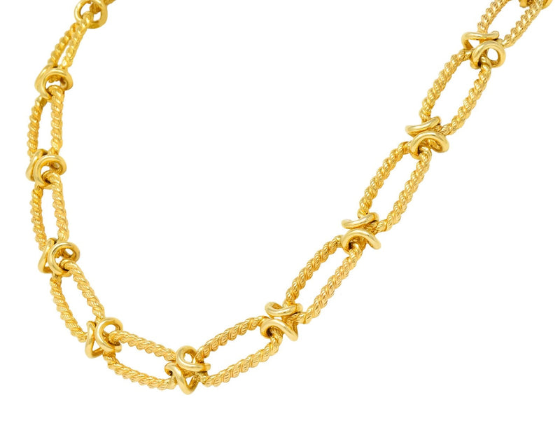 Substantial Contemporary 14 Karat Gold Necklace With Extender - Wilson's Estate Jewelry