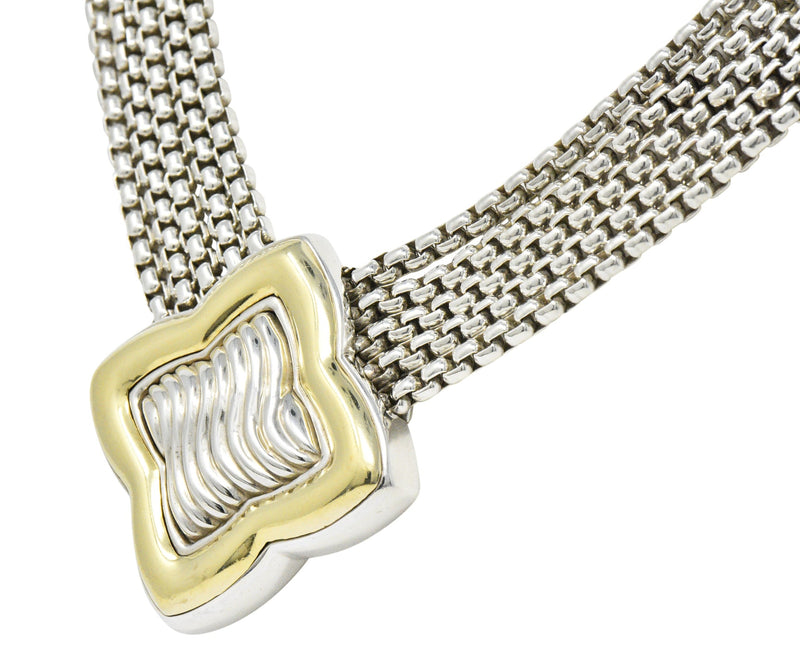 Substantial David Yurman Quatrefoil 18 Karat Gold Sterling Silver Chain Necklace Necklace signed