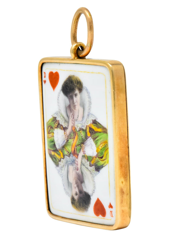 Substantial French Victorian Enamel 14 Karat Yellow Gold Queen Playing Card Pendant - Wilson's Estate Jewelry