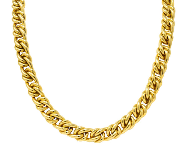 Substantial Tiffany & Co. Vintage 18 Karat Yellow Gold 30 Inch Curbed Link Necklace - Wilson's Estate Jewelry