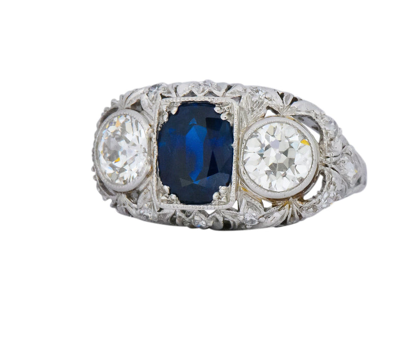 Sumptuous Art Deco 3.70 CTW No Heat Sapphire Diamond Platinum Anniversary Ring AGL Ring Art Deco out-of-stock
