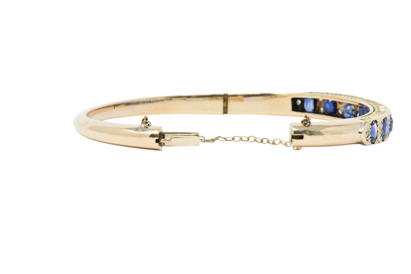 Superb Victorian 4.00 CTW Sapphire Diamond 14 Karat Gold Bangle Bracelet - Wilson's Estate Jewelry