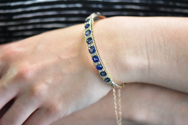 Superb Victorian 4.00CTW Sapphire Diamond & 14K Gold Bangle Bracelet bracelet