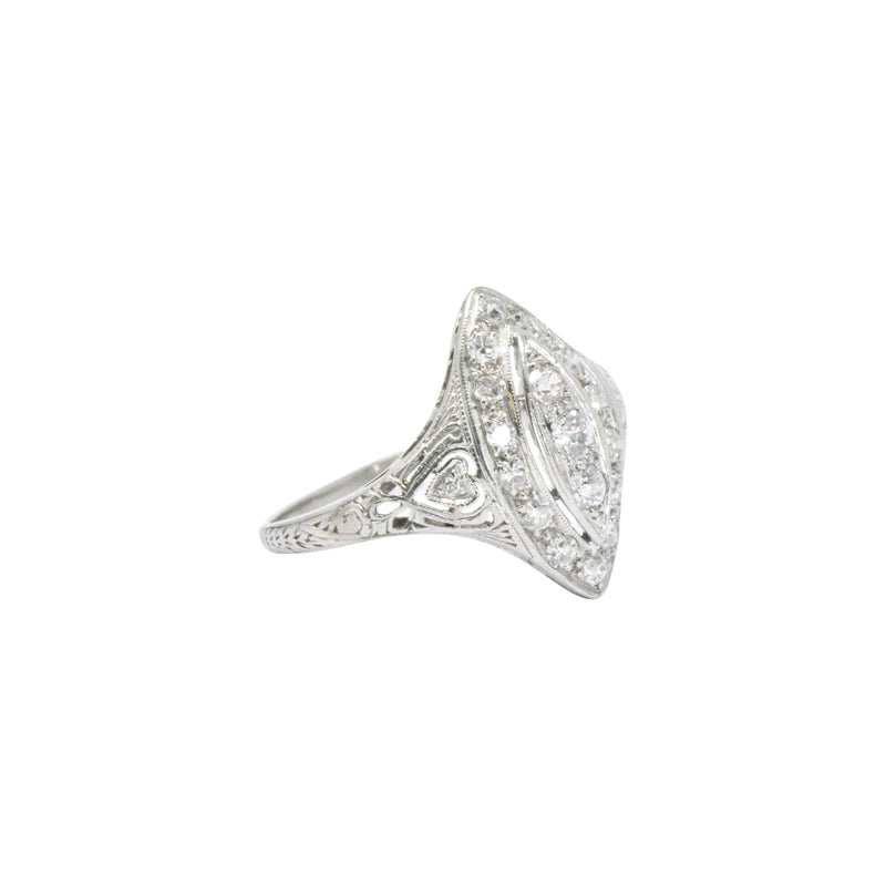 Sweet .40 Ctw Diamond & Platinum Art Deco Navette Ring - Wilson's Estate Jewelry