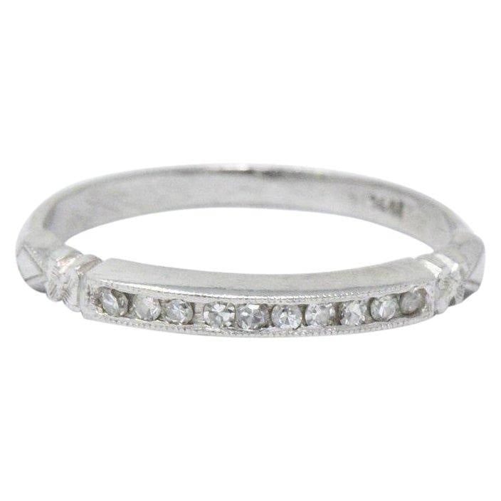 Sweet Art Deco 0.15 CTW Diamond Platinum Band Ring - Wilson's Estate Jewelry