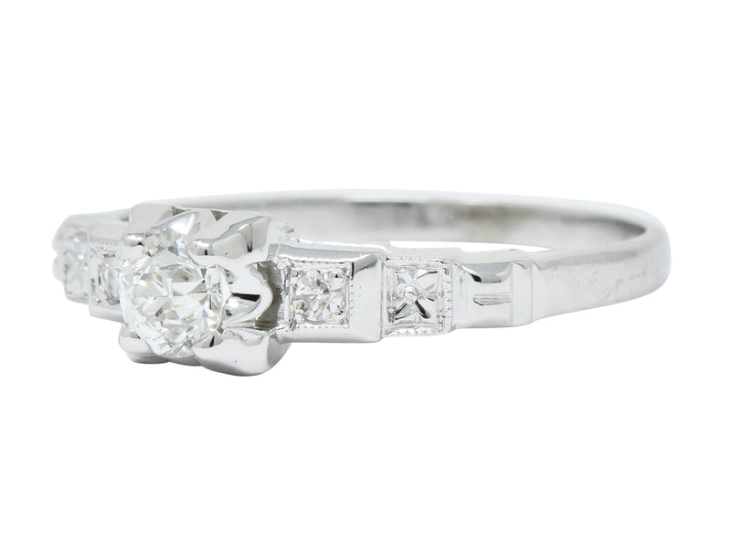 Theberath & Co. Art Deco Diamond 18 Karat White Gold Engagement Ring - Wilson's Estate Jewelry