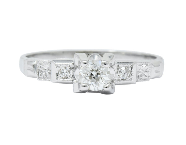 Theberath & Co. Art Deco Diamond 18 Karat White Gold Engagement Ring Ring