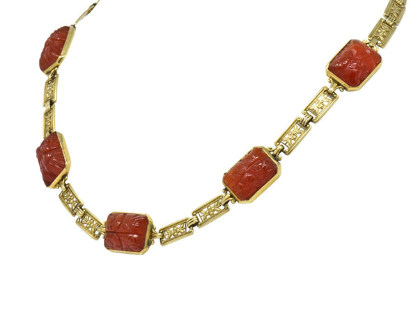 Theberath & Co. Art Nouveau Carnelian 14 Karat Gold Necklace Necklace