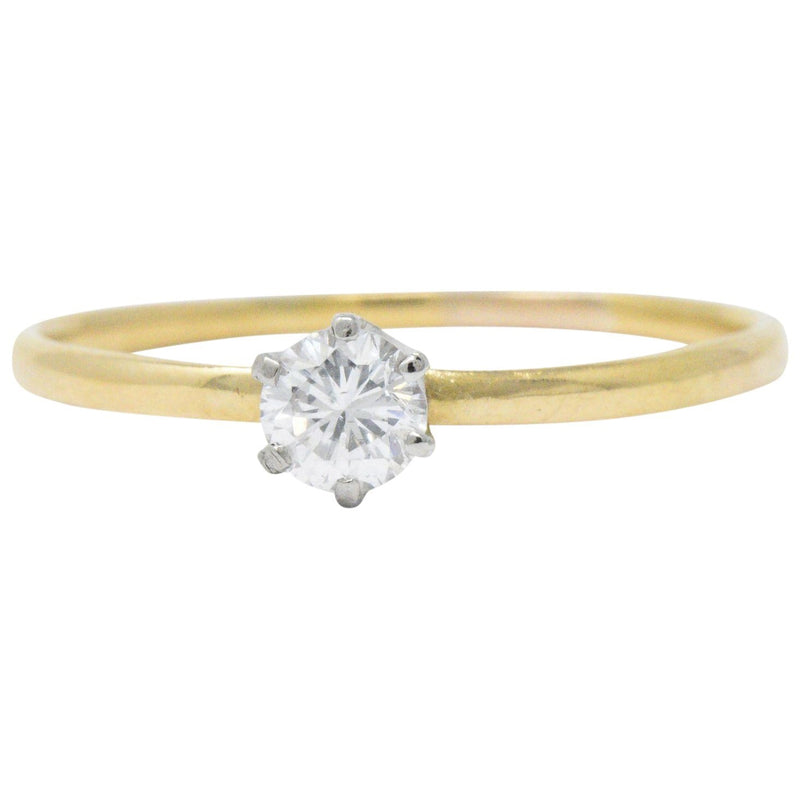 Tiffany & Co. 0.25 Carat Diamond 18 Karat Yellow Gold Platinum Engagement Ring Ring