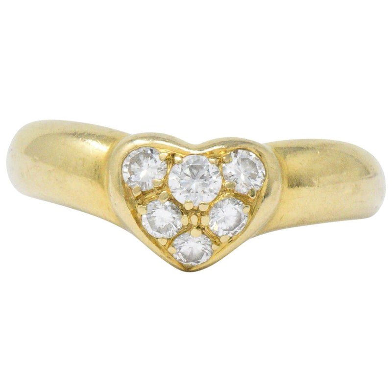 Tiffany & Co. 0.25 CTW Diamond And 18 Karat Gold Heart Ring Ring