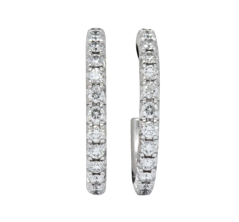 Tiffany & Co. 0.50 CTW Diamond 18 White Gold Hoop Earrings - Wilson's Estate Jewelry