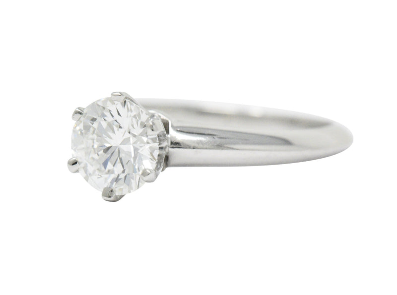 Tiffany & Co. 0.90 CTW Diamond Platinum Solitaire Engagement Ring GIA - Wilson's Estate Jewelry