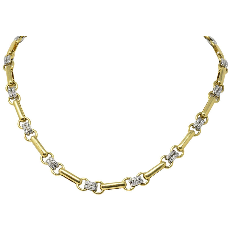 Tiffany & Co. 1.05 CTW Diamond 18 Karat Two-Tone Gold Link Necklace - Wilson's Estate Jewelry