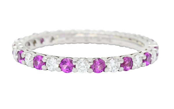 Tiffany & Co. 1.05 CTW Diamond Pink Sapphire Platinum Eternity Band Ring Contemporary diamond diamonds pink sapphire Round brilliant