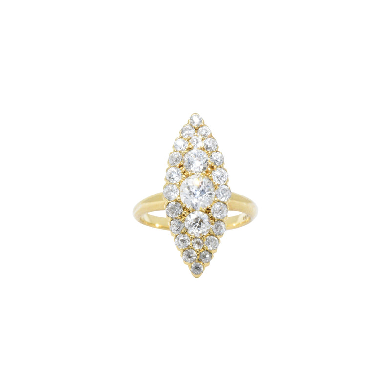 Tiffany & Co. 1.40 CTW Victorian Diamond & 18K Yellow Gold Navette Ring Ring