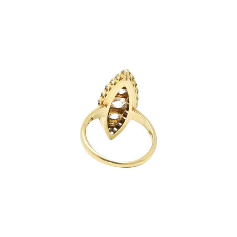 Tiffany & Co. 1.40 CTW Victorian Diamond & 18K Yellow Gold Navette Ring - Wilson's Estate Jewelry
