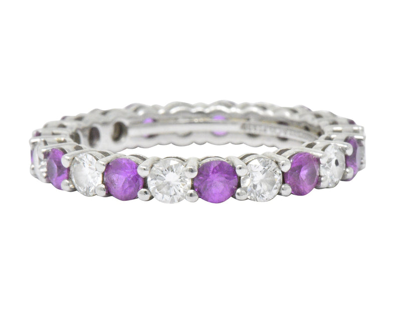 Tiffany & Co. 1.85 Ctw Pink Sapphire Diamond Platinum Embrace Eternity Band Ring Ring