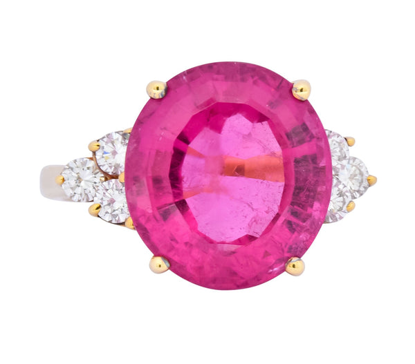 Tiffany & Co. 11.09 CTW Pink Tourmaline Diamond 18 Karat Gold Cocktail Ring Ring