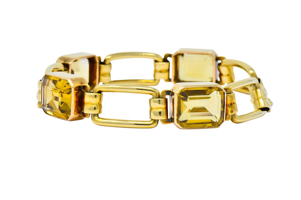 Tiffany & Co. 1940s Retro 32.00 CTW Citrine 14 Karat Gold Link Bracelet bracelet