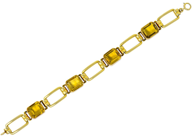 Tiffany & Co. 1940's Retro 32.00 CTW Citrine 14 Karat Gold Link Bracelet - Wilson's Estate Jewelry