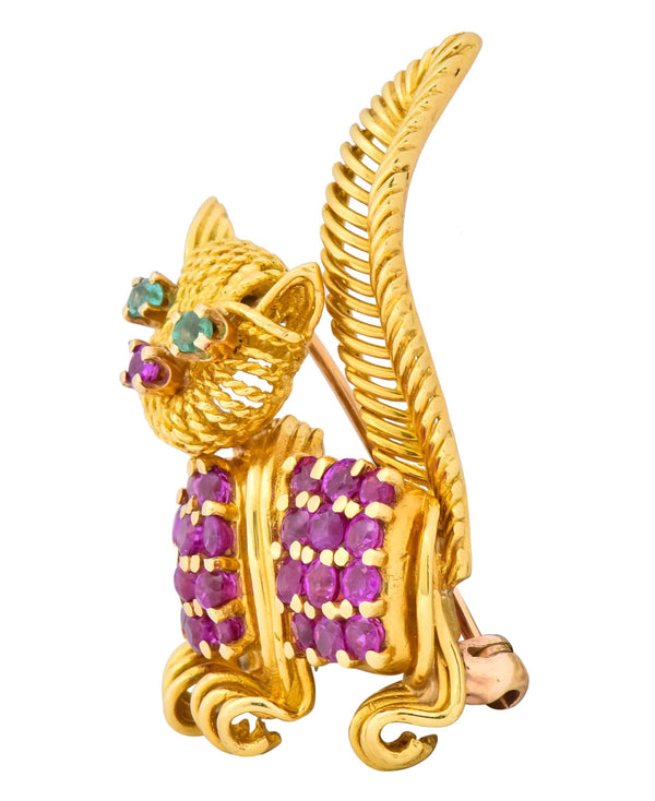 Tiffany & Co. 1960s 1.50 CTW Ruby Emerald 18 Karat Yellow Gold Prancing Cat Brooch Brooch