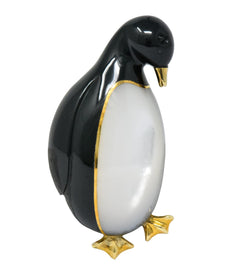 Tiffany & Co. 1970s Black Jade Mother-Of-Pearl 18 Karat Gold Penguin Brooch Brooch
