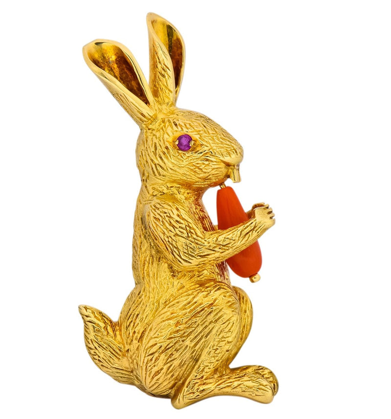 Tiffany & Co. 1970's Vintage Coral Ruby 18 Karat Gold Rabbit Brooch - Wilson's Estate Jewelry