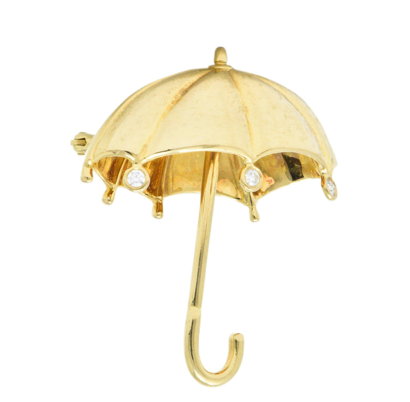 Tiffany & Co. 1980's 0.18 CTW Diamond 18 Karat Gold Umbrella Brooch - Wilson's Estate Jewelry