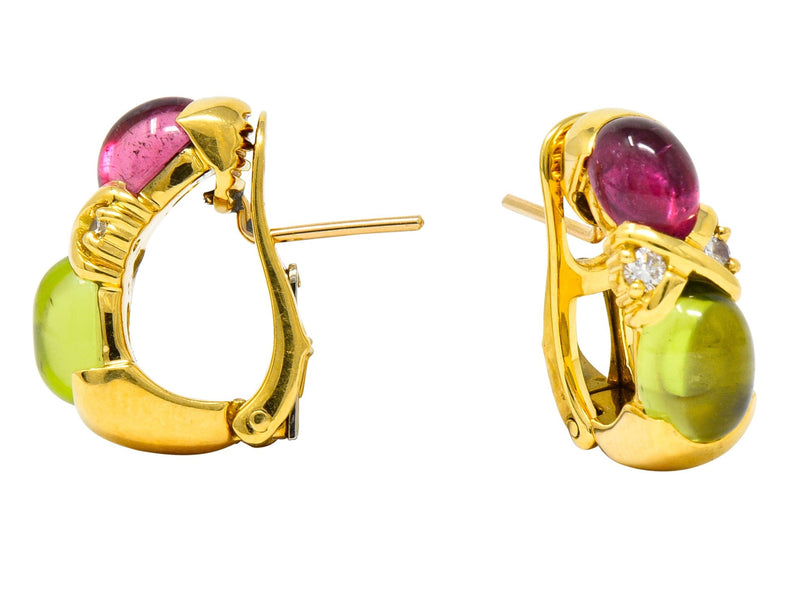 Tiffany & Co. 1990's Tourmaline Peridot Diamond 18K Yellow Gold J Hoop Earrings - Wilson's Estate Jewelry
