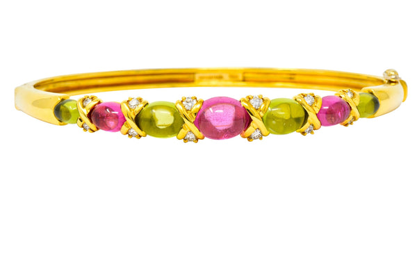 Tiffany & Co. 1990s Vintage Tourmaline Peridot Diamond Bangle Bracelet bracelet