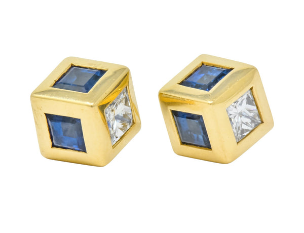 Tiffany & Co. 2.55 CTW Sapphire Diamond 18 Karat Gold Cube Earrings Earrings