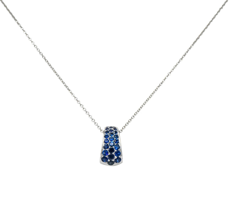 Tiffany & Co. 2001 0.90 CTW Diamond Sapphire 18 Karat White Gold Pendant Necklace - Wilson's Estate Jewelry