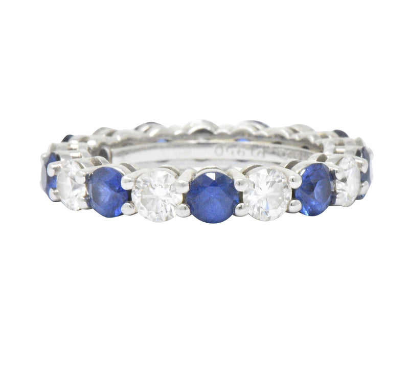 Tiffany & Co. 3.24 CTW Sapphire Diamond Platinum Embrace Eternity Band Ring Ring out-of-stock signed