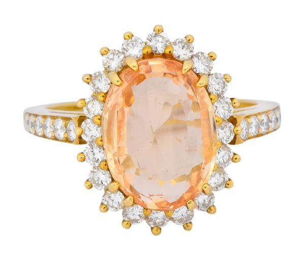 Tiffany & Co. 5.60 CTW No Heat Orange Sapphire Diamond 18 Karat Gold Cluster Alternative Engagement Ring GIA Ring