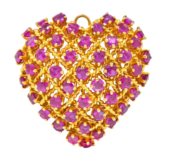 Tiffany & Co. 8.00 CTW Ruby 18 Karat Gold Heart Pendant Brooch Brooch