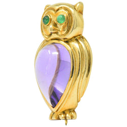 Tiffany & Co. Amethyst Emerald 18 Karat Gold Owl Brooch Brooch