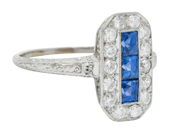 Tiffany & Co. Art Deco Sapphire Diamond 18 Karat White Gold Dinner Ring - Wilson's Estate Jewelry