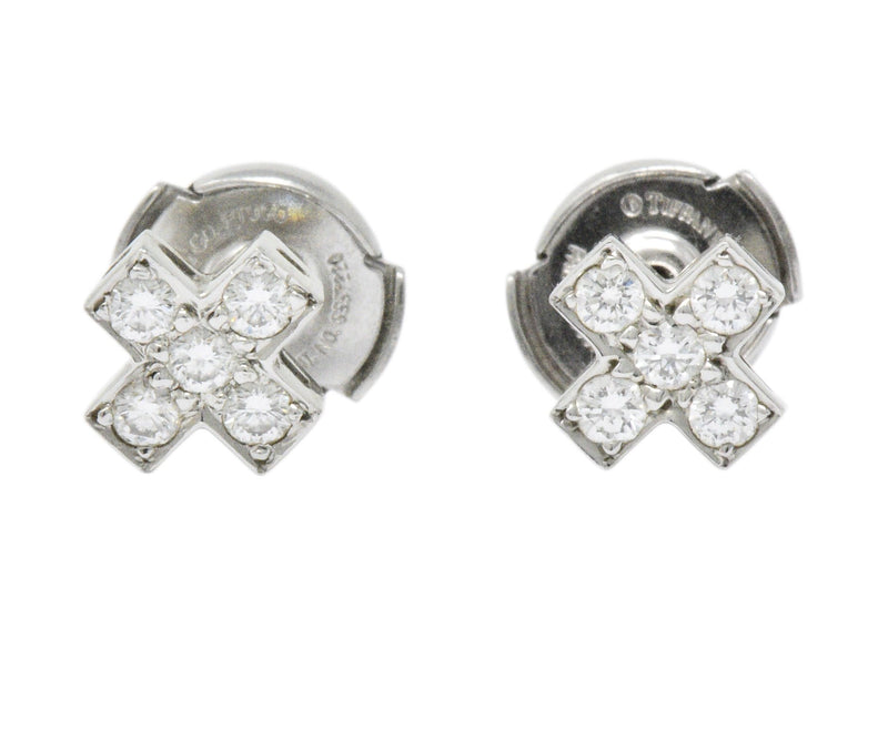 Tiffany & Co. Contemporary 0.30 CTW Diamond Platinum Cruciform Earrings - Wilson's Estate Jewelry