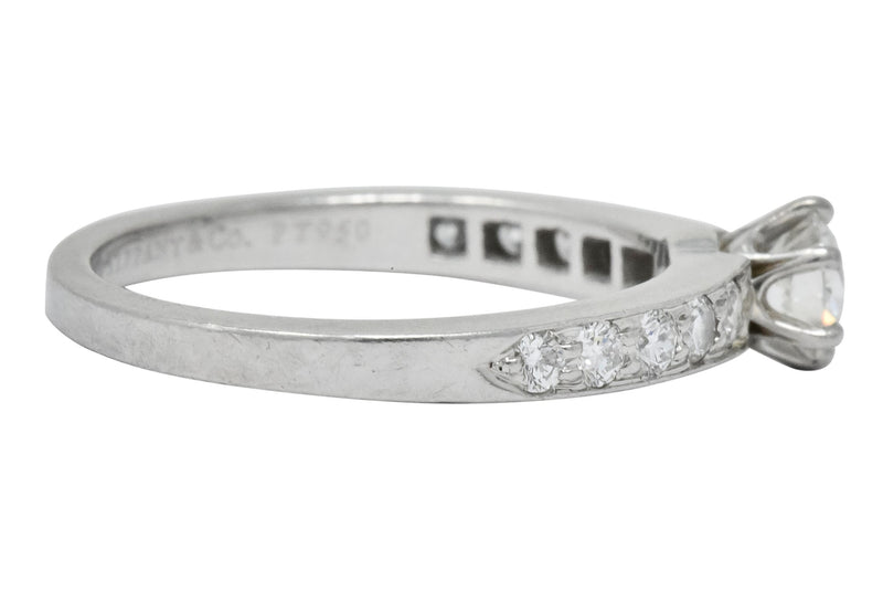 Tiffany & Co. Contemporary 0.48 CTW Diamond Platinum Engagement Ring Ring Contemporary signed