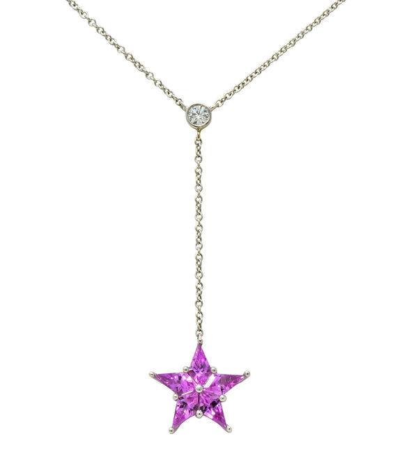 Tiffany & Co. Contemporary 0.95 CTW Sapphire Platinum Star Drop Necklace Necklace