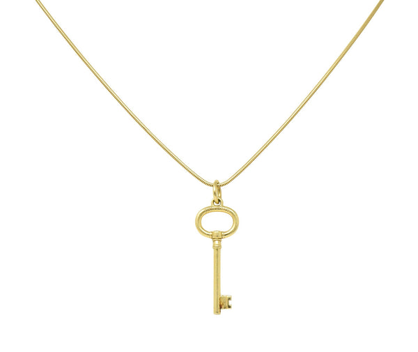 Tiffany & Co. Contemporary 18 Karat Gold Key Pendant Necklace - Wilson's Estate Jewelry