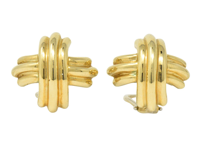 Tiffany & Co. Contemporary 18 Karat Gold X Earrings - Wilson's Estate Jewelry